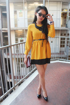 mustard shirt dress shopatnoona dress - black round glasses H&M glasses