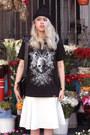 Black-dignitycloth-t-shirt-white-zara-skirt-blue-bottega-veneta-pumps