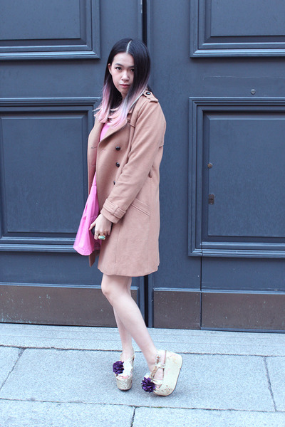 bubble gum circle Rosegal dress - camel oversized H&M coat