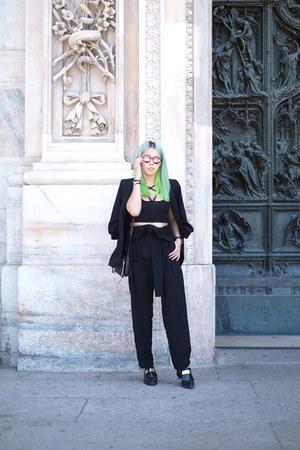 black tailored Zara blazer - black suede leather Chloe bag