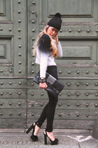 black H&M sweater - black DIY hat - black braccialini bag