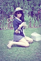 tan straw hat vintage hat - navy pearl studded vintage blazer - black polkadot R