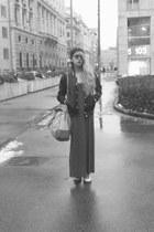 black gazelle jacket - gray unbranded dress - camel Prada bag