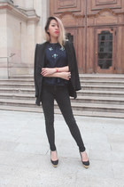 black studded fitted Zara blazer - black peplum  chiffon avanava top