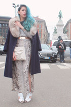 white Jeffrey Campbell heels - beige Zara dress - navy vintage coat