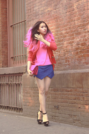 blue origami skort Zara shorts - red vintage blazer - hot pink Berrybenka bag