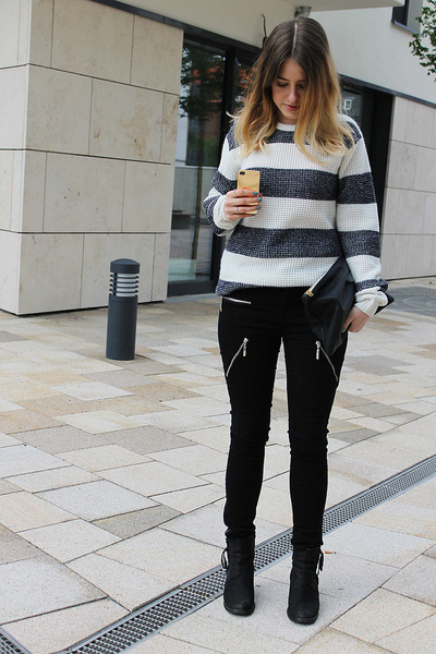 stripes Primark sweater - zippers GINA TRICOT jeans