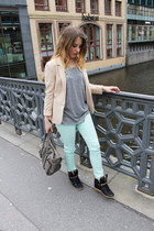 mint Cubus jeans - H&M blazer - studded Zara sneakers - Topshop top