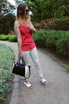 Zara top - monochrome Zara bag - H&M pants
