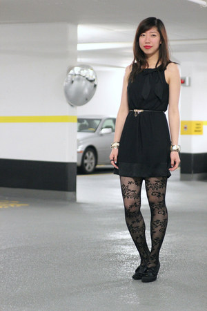 black H&M dress - black lace Zara tights