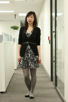 charcoal gray H&M dress - heather gray tights - black Joe Fresh cardigan