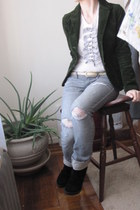 thrifted jacket - Gap top - ae pants