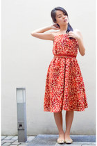 beige studded shoes - ruby red oversized dress