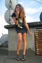 black American Apparel skirt - black Zara shoes - black Gunsn Roses t-shirt - bl