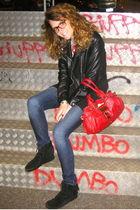 black Minnetonka shoes - blue J Brand jeans - red paddington Chloe bag