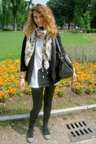 black Converse shoes - black Blumarine leggings - black Zara jacket - beige alex