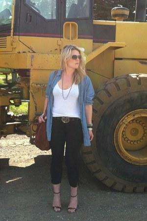 Zara jeans - Zara bag - demin H&M blouse - BCBG wedges