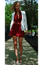 gold Forever 21 necklace - white H&M blazer - ruby red Ganni blouse