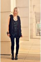 black Steve Madden boots - black Akira dress - black J Brand jeans