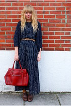 brown next shoes - navy Dahlia dress - ruby red Cotton fields vintage bag
