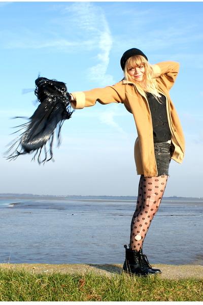 black Ebay boots - black ripped DIY tights - black DIY top