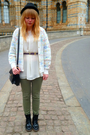 white vintage cardigan - cream Topshop blouse - dark khaki next pants
