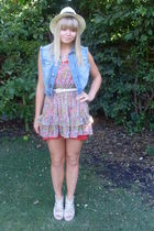 blue Henry Hollands at Debenhams vest - Topshop dress - red Topshop dress - beig