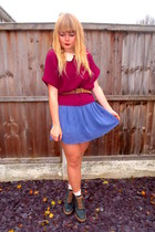 magenta Tu at Sainsburys sweater - sky blue Dahlia dress - brown vintage belt