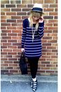 Blue-topshop-dress-brown-vintage-purse