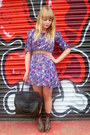 Brown-vintage-belt-purple-floral-dahlia-dress-dark-brown-vintage-bag