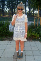 white crochet Forever 21 dress - turquoise blue underneath Topshop dress