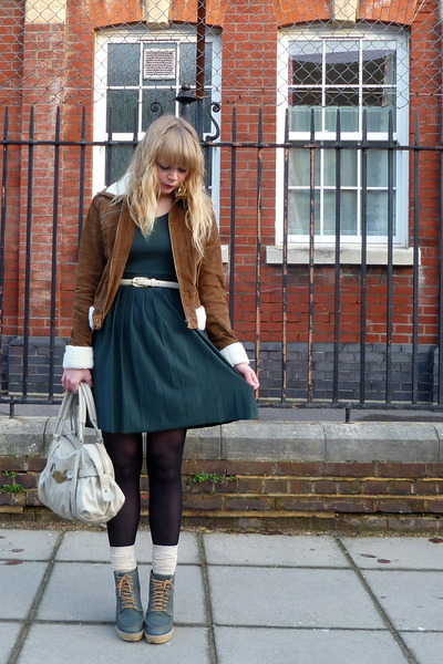 tawny Forever 21 jacket - teal asos shoes - forest green asos dress