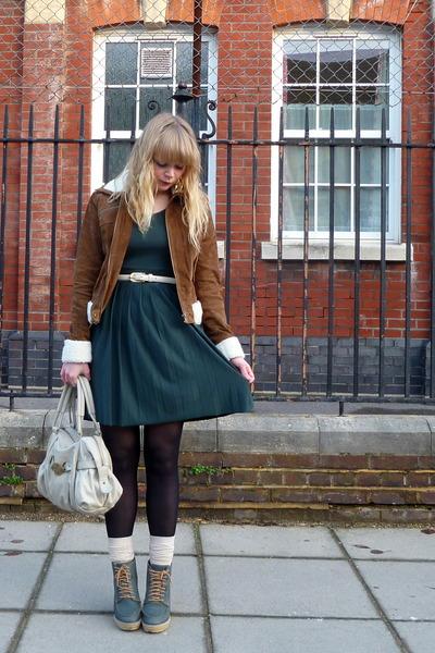 tawny Forever 21 jacket - teal asos shoes - forest green asos dress