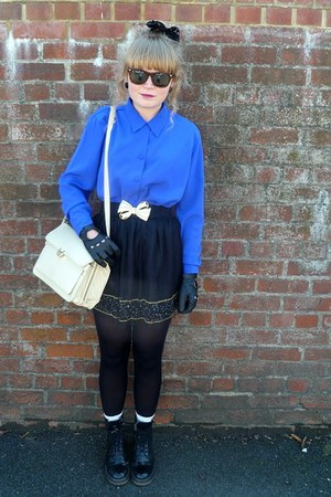 black Forever 21 skirt - cream thrifted Jane Shilton bag - blue vintage blouse