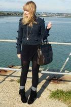 black striped Topshop t-shirt - black fringed Matalan boots - black H&M dress