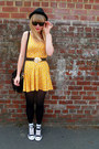 Black-converse-shoes-yellow-h-m-dress-black-h-m-hat-black-vintage-cardigan