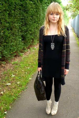 brown Topshop cardigan - black H&M dress - Love Label shoes - vintage bag