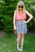 salmon vintage blouse - blue H&M skirt - tawny Dahlia belt - tawny new look wedg