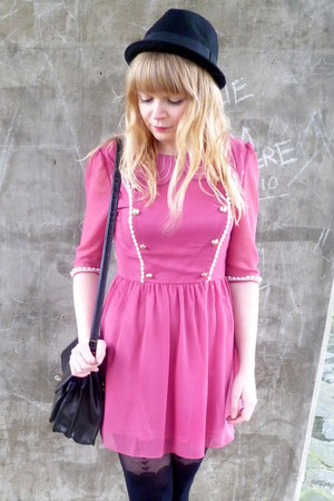 brown leopard Love Label wedges - pink Dahlia dress - black Topshop tights