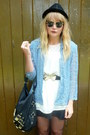 Black-topshop-dress-black-h-m-hat-sky-blue-vintage-blazer-black-next-bag