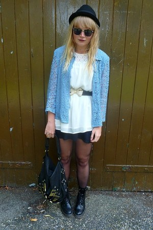 sky blue vintage blazer - black Topshop dress - black H&M hat - black next bag