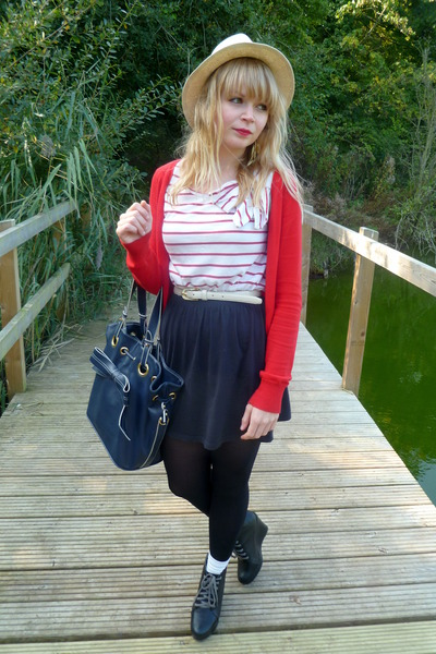 River Island dress - blue Topshop purse - red H&M cardigan