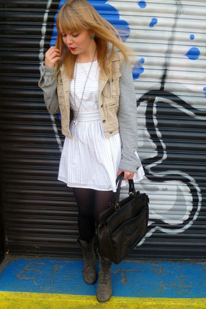 white Dahlia dress - beige Topshop jacket - gray Matalan boots - brown vintage p