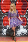 Brown-vintage-belt-purple-floral-dahlia-dress-dark-brown-vintage-bag