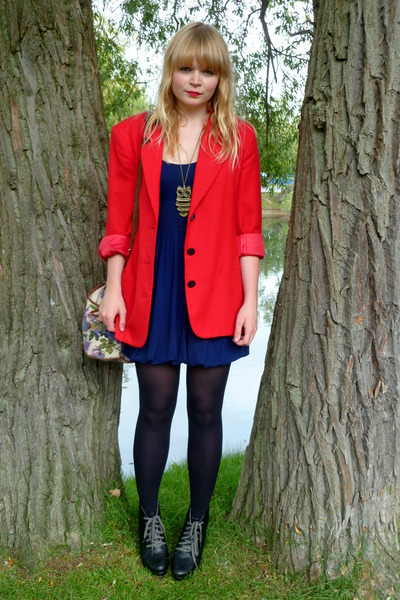 red vintage blazer - blue Topshop dress - beige asos bag - black Love Label shoe