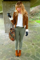 dark khaki jeggings next pants - tawny Forever 21 jacket - white vintage blouse