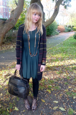 brown Topshop cardigan - green asos dress - brown vintage purse - Love Label sho
