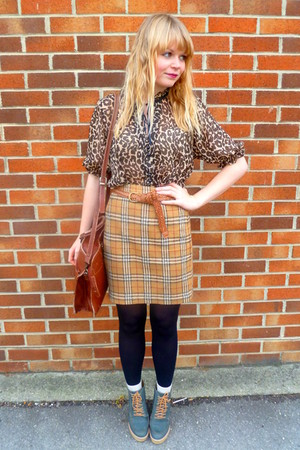brown vintage skirt - brown vintage belt - brown Primark blouse - brown vintage