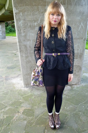 black vintage from Ebay blouse - black H&M dress - asos purse - Love Label shoes