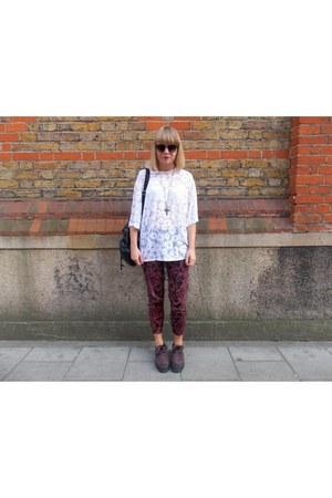 white Topshop t-shirt - maroon H&M pants